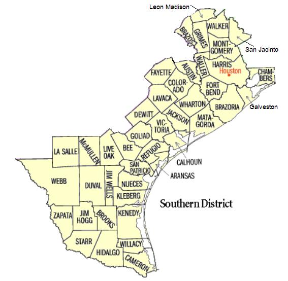 Map of USDC Southern District of Texas - Houston Division
